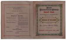1877 FIRST PRESBYTERIAN CHURCH Chicago Illinois WELCOME SERVICE PROGRAM School