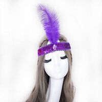 Colorful Crystal Headpiece Hairband Flapper Sequin Ostrich Feather Headband