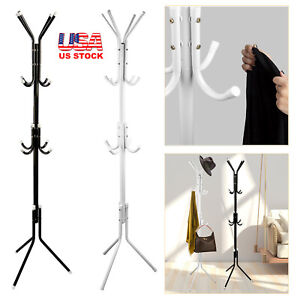 12 Hook Metal Coat Rack Clothes Hat Bag Hanger Tree Stand Umbrella Holder 3 Tier