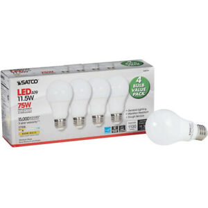4PK - Satco 11.5w A19 LED 120v Medium base 2700K Warm White Bulb