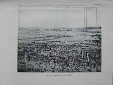 1918 WW1 WWI PRINT ~ THE WIRE PROTECTING BELLICOURT FRONT TRENCH HINDENBURG LINE