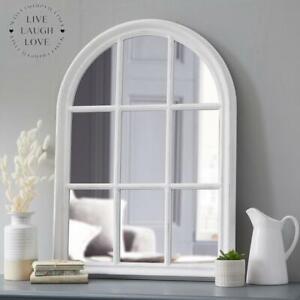 Large Arch Wooden Window Mirror - Antique White