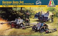 Italeri 1:72 German Guns Set 3.7cm Pak37 7.5cm Pak40 2cm Flak 38 Kit #7026