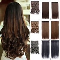 Clip in Hair Extensions One Piece Half Full Head Real Synthetic Ponytail Pi.