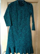 Monsoon Green & Black Animal Print  Frilled Hem Shift Occasion Dress UK Size S