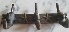 Black And Gold Finish Western Pistol Gun Three Hook Lodge/Cabin Wall Deco