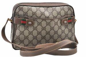 Authentic GUCCI Web Sherry Line Shoulder Bag GG PVC Leather Brown E0092