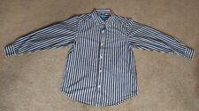 Childrens Place Boys sz L (10/12) sport brown shirt stripe collar Ls button down