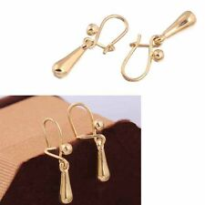 Hot 1 Pair Gilded Fashion 18K Drops Shape Earrings Stud Elegant 25mm x4mm diy