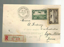 1933 Diekirch Luxembourg Third FLight Cover to Brussels Belgium Stamp Exposition