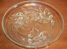 VERLYS : Grand plat en verre moulé pressé aux orchidées