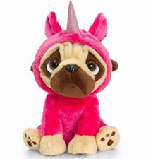 Keel Toys PUGSLEY Dog Pug in UNICORN JUMP SUIT 20cm PINK Soft Toy