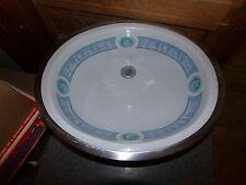Vintage Mid Century Porcelain China Oval Bathroom Sink Ancient Greek Design