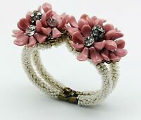 Authentic Miriam Haskell 1950's Vintage Beaded  Clamper Floral bangle