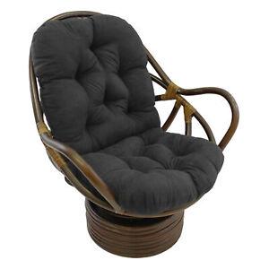 48-inch by 24-inch Solid Micro Suede Swivel Rocker Cushion - Black