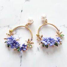 Crystal & pearl purple flower drop round chandelier fashion gold stud earrings