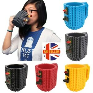 9 Colours Coffee Tea Cup DIY Build-On Lego Brick Mug Creative Puzzle Block