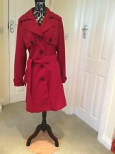 Red Mac Pleated Dress Coat Paisley Lining With Belt Size 12-14 Euro 40