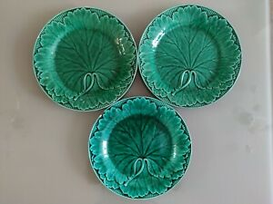 Lot Of 3 Vintage Wedgwood Green Cabbage Plates, Dia - 20 cm. A/F