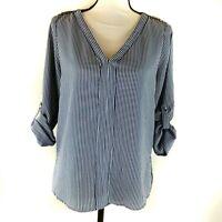 Zara Womens Top Size 5 Blue White Stripe 3/4 Roll Tab Sleeves Popover Poly