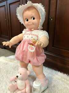 """Vintage Large Kewpie Doll 24"""" Tall Hard Plastic Cameo Poseable, Stands Jesco"""