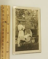 Vintage Photograph B&W c1920 mom baby carriage victorian city dress postcard pic