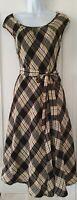 Womens Monsoon Black Beige Check Tartan Plaid Flippy Wool Mix Pinafore Dress 12