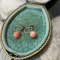 Antique 9ct Yellow Gold Natural Pink Coral Screw Back Earrings