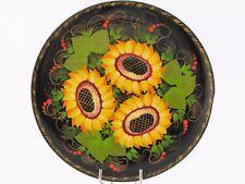 Assiette décorative murale fleurs D 19 cm bois peint main laqué Artisanat Russe