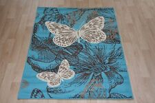 Quality Blue Grey Butterfly Print Rug 150cm x 100cm Beautiful Butterfly Rug