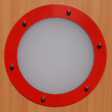 PORTHOLE FOR DOORS STAINLESS STEEL RED (RAL 3020) phi 230 mm flat