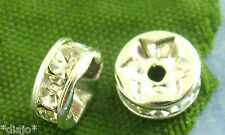 5 Stück Perlen 4mm Strass Zwischenperle Bead Straß Farbe silber kristall  *
