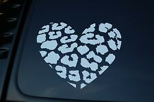 Leopard Print Heart Vinyl Sticker Decal (V174) Choose Color & Size!! JDM Girl