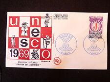 FRANCE PREMIER JOUR FDC YVERT S42  UNESCO  0.70 F PARIS 1969