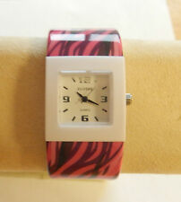 "Watch Woman plastic adjustable square face-stripes pink purple brown  1"" band"