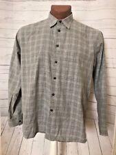 BURBERRY Men Dress Shirt Sz Large Button Down Gray Plaid USA Made 100% Cotton