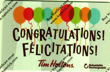 Tim Hortons 2017 Congratulations Felicitations  0 VALUE RECHARGEABLE Gift Card