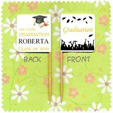 20 PERSONALISED GRADUATION CUP CAKE FLAG Party Topper Decoration Food Pick