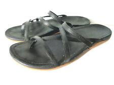 CHACO Gecko WMNs US 11M Black Nubuck Leather EcoTread Thong Sandal Shoes