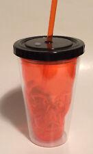 16oz. Orange Plastic Skull Drinking Tumbler With Light Up LED Lid & Straw - NWT