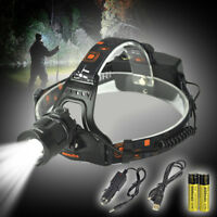 BORUiT 30000LM XM-L L2 LED Headlamp Zoom Camping Headlight Head Torch Flashlight