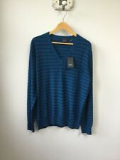 BNWT Men's Paul Smith Teal Blue Striped V-Neck Jumper, UK Size XL, Tagged