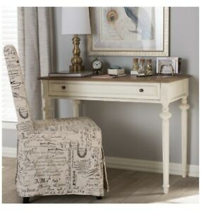 MARQUETTERIE FRENCH PROVINCIAL WEATHERED OAK AND WHITEWASH WRITING DESK