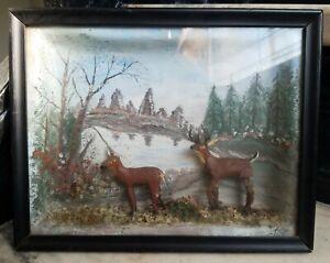 **Charming Vintage 3D Folk Art Diorama Deer Shadowbox Old**