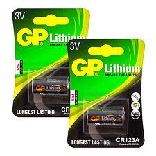 2 x GP Lithium CR123A batteries 3V CR123 CR17345 EL123 Digital Camera EXP:2026