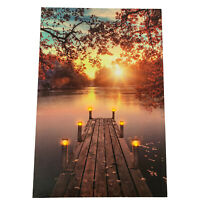 New 6 LED Light Up HD Autumn Jetty Scene Wall Home Decor Canvas Picture Gift Art