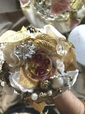 White And Gold Tone Bridal Bouquet Alternative Brooch Button Jewellery Vintage