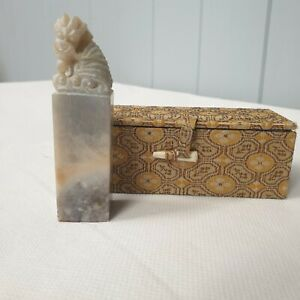 Chinese carved Dragon soapstone stamp, Boxed. Oriental Collectable