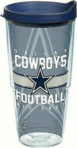 Tervis 1180435 NFL Dallas Cowboys Gridiron Tumbler with Wrap and Navy Lid 24 oz