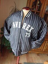 Avirex Bomber Flight Jacket Men's Black Grey Baseball Stripe Winter Coat Zip L